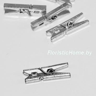 ДЕКОР  Прищепка, пластик, h 2,5 см х d 0,4 см, серебро,