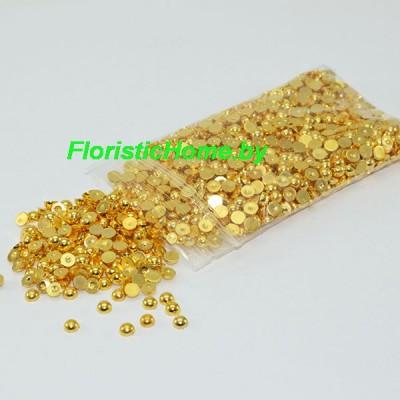 БУСИНКА, полубусина, d 0,4 см, 20 гр., золотой металлик