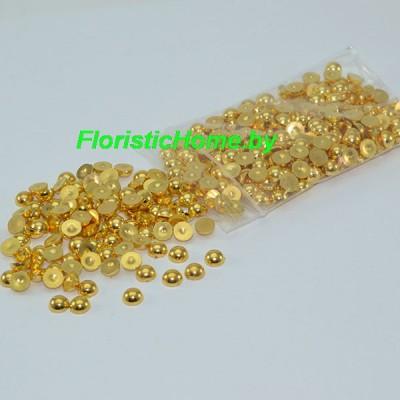 ПОЛУБУСИНА металлизированная, d 0,6 см, золотой металлик, 20 гр.
