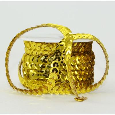 ЛЕНТА Пайетки голография граненые на нити , d 0,6 см х L 10 м, желтое золото