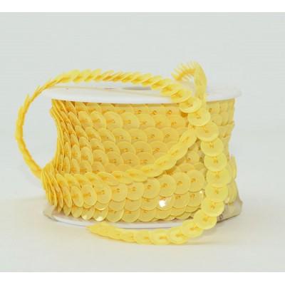 ЛЕНТА Пайетки голография граненые на нити , d 0,6 см х L 10 м, бледно-желтый