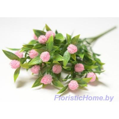 ВЕТКА Куст пушистый с шишками, Пластик, L 35 см, зеленый-розовый