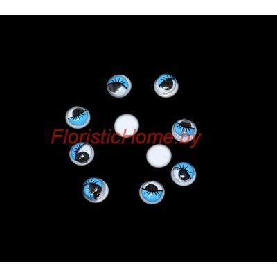 ГЛАЗКИ круглые с ресничками 10 шт., d 0,8 см, голубой