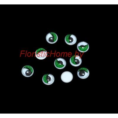 ГЛАЗКИ круглые с ресничками 10 шт., d 0,8 см, зеленый