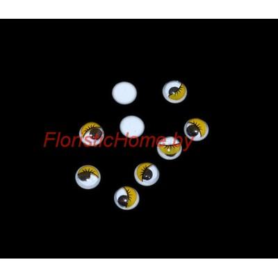ГЛАЗКИ круглые с ресничками 10 шт., d 0,8 см, желтый