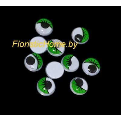 ГЛАЗКИ круглые с ресничками 10 шт., d 1,2 см, зеленый