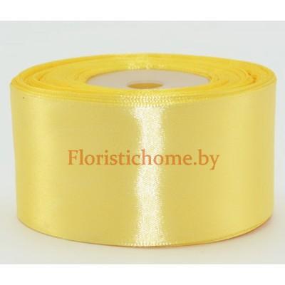ЛЕНТА атласная, h 5 см х 1 м, бледно-желтый