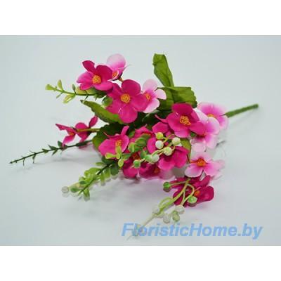БУКЕТ ЦВЕТОВ Лютики с эвкалиптом, h 32 см, малиново-вишневый-розовый