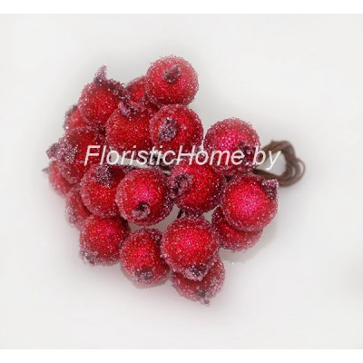 Клюква в сахаре на проволоке 20 ягод ., d 1,2 см, красный