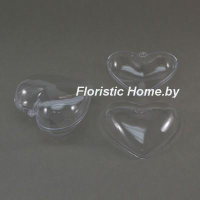 ЗАГОТОВКА Сердце разъемное ( из 2-х частей ) , d 10 см, пластик, прозрачный