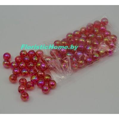 БУСИНКА, перламутр. круглая, d 0,8 см, 20 гр., красный хамелеон