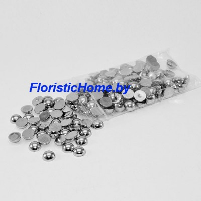 БУСИНКА, полубусина, d 0,8 см, 20 гр., стальной металлик