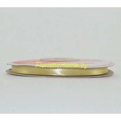 ЛЕНТА атласная, h 0,6 см х 27 м , золотисто-песочный