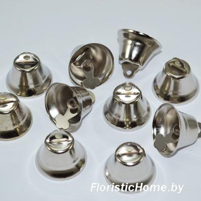 ДЕКОР  Колокольчик, набор 10 шт., металл, d 2,5 см, серебро,