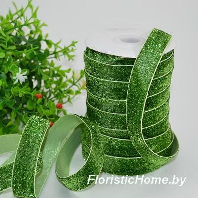 ЛЕНТА ДЕКОРАТИВНАЯ  бархатная с люрексом, h 1,5 см х  1 м, зелено-болотный