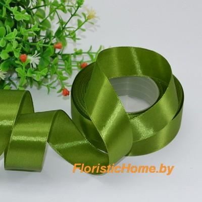 ЛЕНТА атласная, h 2,5 см х 27 м, зелено-болотный