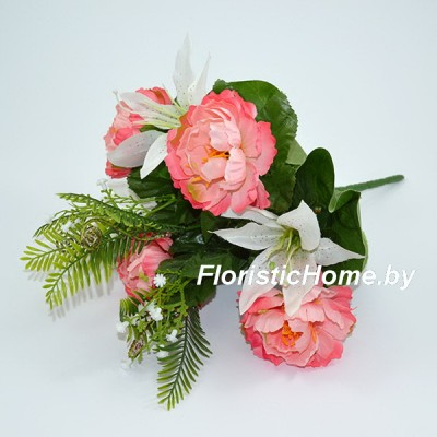 БУКЕТ ЦВЕТОВ Розы с лилией, h 37 см, темно-коралловый-розовый
