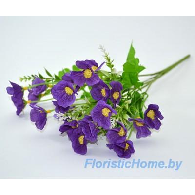 БУКЕТ ЦВЕТОВ Лютики с белыми тычинками, h 32 см, темно-фиолетовый