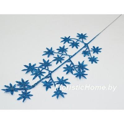 ВЕТКА Декоративная листва в глиттере, Пластик, L 41 см, лазурный