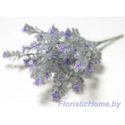 ВЕТКА Куст самшита с цветочками, Пластик, L 33 см, серый-сиреневый