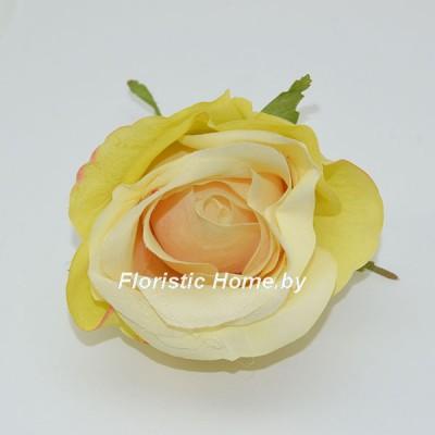 ГОЛОВКИ ЦВЕТОВ Роза крупная, d 7,5 см х h 8 см, светло-фисташковый-ванильный