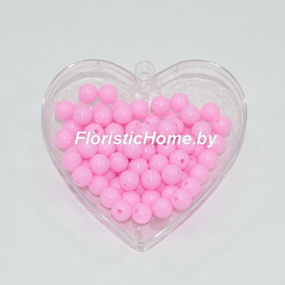 БУСИНКА, пластиковая круглая, d 0,8 см, 20 гр., светло-розовый