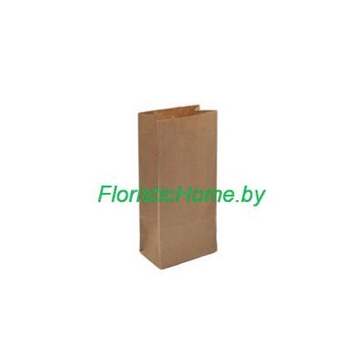 КРАФТ-ПАКЕТ с прямоугольным дном без ручек, 17 см х 8 см х 5 см  , натуральный