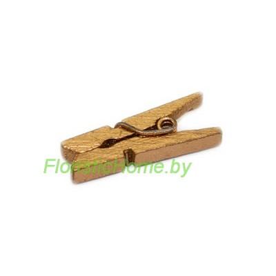 ДЕКОР  Прищепка, дерево, h 3,5 см х d 0,8 cм, золото,