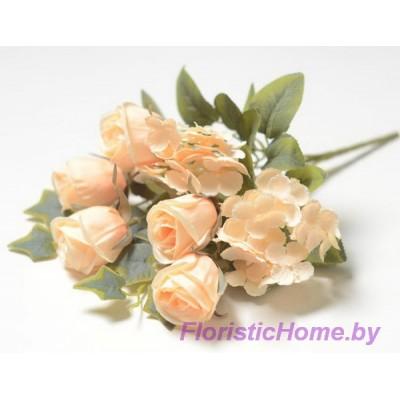 БУКЕТ ЦВЕТОВ Розы с гортензией, h 28 см, песочно-персиковый