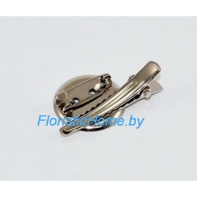 ЗАГОТОВКА ДЛЯ БРОШИ Значок + заколка + иголка, d 2,4 см, металл, под никель