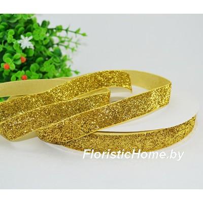 ЛЕНТА ДЕКОРАТИВНАЯ  бархатная с люрексом, h 1,5 см х  1 м, золотой