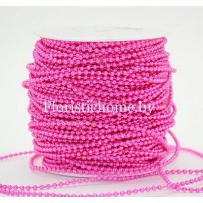 БУСИНА  НА НИТИ , круглая, d 0.3 см х L 1 м , светло-пурпурный,