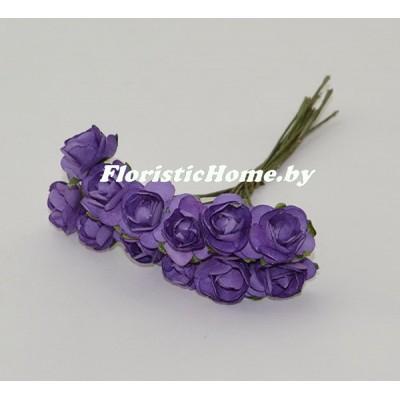 ИСКУССТВЕННЫЙ ЦВЕТОК Роза 12 шт. раскрытая, бумага, d 1,8 см, темно-фиолетовый