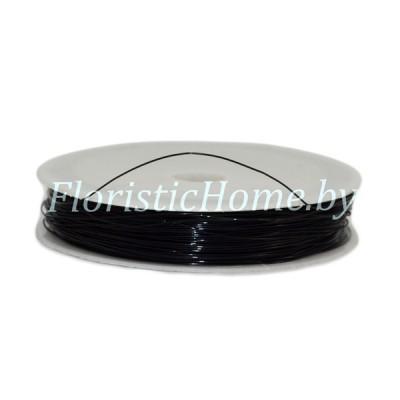 ПРОВОЛОКА , для бисера на катушке, d 0,4 мм х L 50 м, 50 гр., черный