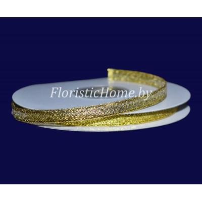 ЛЕНТА ДЕКОРАТИВНАЯ  парча, h 0,6 см х 1 м, золотой
