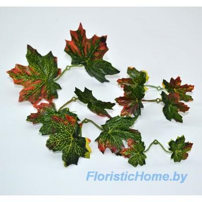 ЛИСТВА Клена - розетка 6 шт., Ткань, L 2,5 - 7,5 см, зеленый-терракотовый
