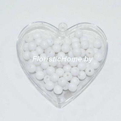 БУСИНКА, пластиковая круглая, d 0,8 см, 20 гр., белый