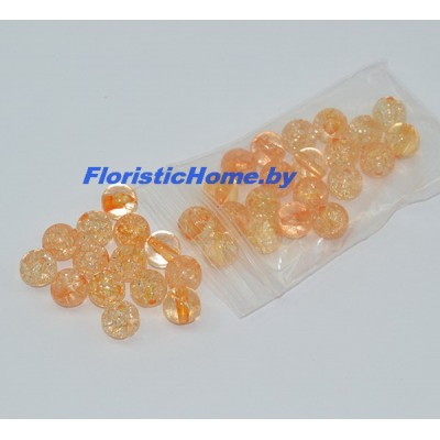 БУСИНКА, фигурная №1, d 1 см, 20 гр., светло-оранжевый