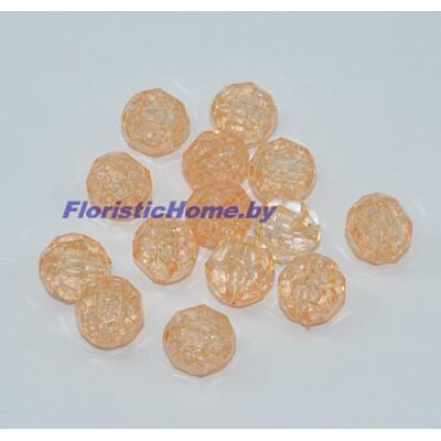 БУСИНКА, граненая, d 1,5 см, 20 гр., бледно-оранжевый