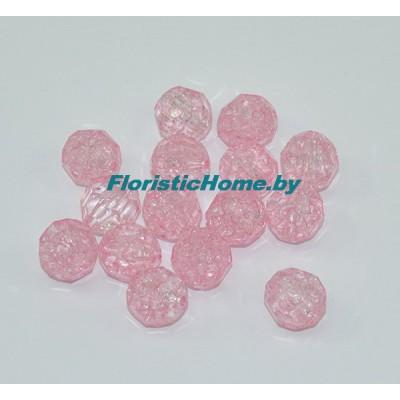 БУСИНКА, граненая, d 1,5 см, 20 гр., светло-розовый