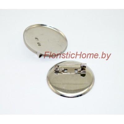 ЗАГОТОВКА ДЛЯ БРОШИ Значок + иголка, d 2 см, металл, под никель