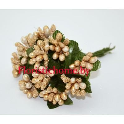 Тычинки 10 -12 шт. засахаренные, d 2,3 см, золотой