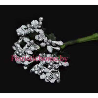 Тычинки 10 -12 шт. засахаренные, d 2,3 см, серебро
