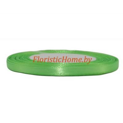 ЛЕНТА атласная, h 0,6 см х 1 м, зеленое яблоко