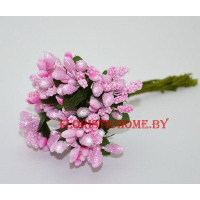 Тычинки 10 -12 шт. засахаренные, d 2,3 см, розовый