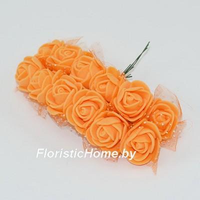 ИСКУССТВЕННЫЙ ЦВЕТОК Роза 12 шт. раскрытая с фатином, латекс, d 2,5 см, оранжевый