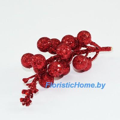 ВЕТКА Ветка с ягодами в глиттере с блестками, , L 13 см, красный