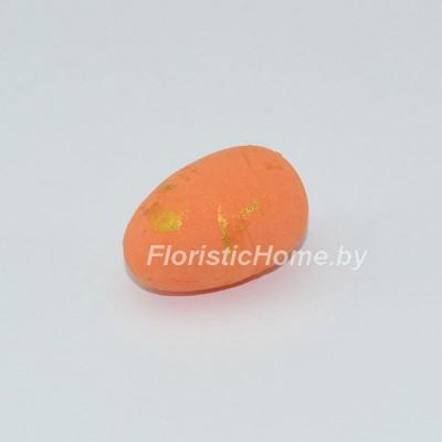 ДЕКОР  Яйцо 1 шт, пенопласт в крапинку, L 3 см, оранжевый,