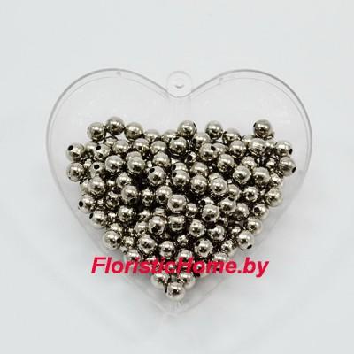 БУСИНКА, металлизир. круглая, d 0,6 см, 20 гр., стальной металлик