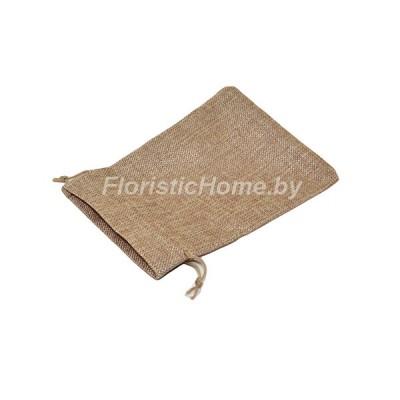 ПОДАРОЧНЫЙ ПАКЕТ Мешочек мешковина, 7 см х 9 см, натуральный